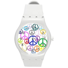 Peace Sign Collage Png Plastic Sport Watch (medium)