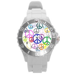 Peace Sign Collage Png Plastic Sport Watch (Large)