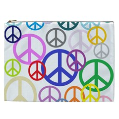Peace Sign Collage Png Cosmetic Bag (XXL)