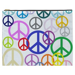 Peace Sign Collage Png Cosmetic Bag (XXXL)