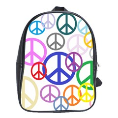 Peace Sign Collage Png School Bag (XL)