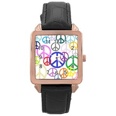 Peace Sign Collage Png Rose Gold Leather Watch
