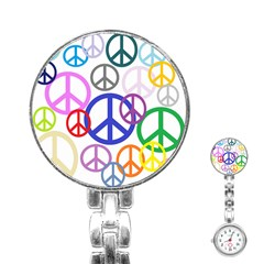 Peace Sign Collage Png Stainless Steel Nurses Watch