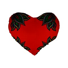 Lotus 2 16  Premium Heart Shape Cushion