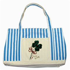 Victorian St Patrick s Day Blue Striped Tote Bag