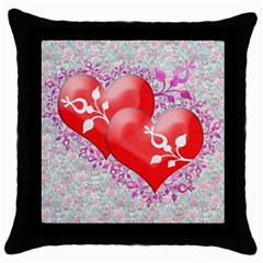 Hearts Black Throw Pillow Case