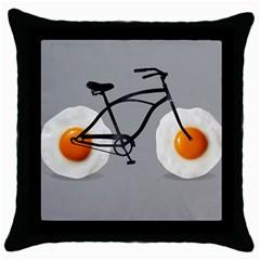Egg Bike Black Throw Pillow Case