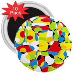 Interlocking Circles 3  Button Magnet (10 pack)
