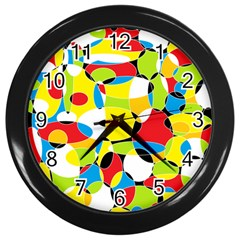 Interlocking Circles Wall Clock (black)