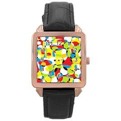 Interlocking Circles Rose Gold Leather Watch