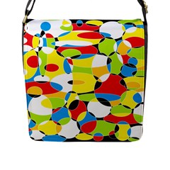 Interlocking Circles Flap Closure Messenger Bag (Large)