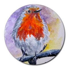 Robin Red Breast 8  Mouse Pad (Round)