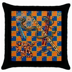 Snakes and Ladders Pillow Black Throw Pillow Case