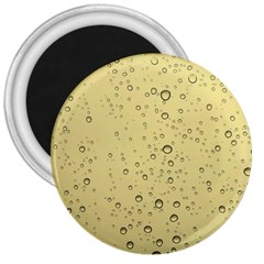 Yellow Water Droplets 3  Button Magnet