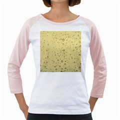 Yellow Water Droplets Women s Long Cap Sleeve T-Shirt (White)