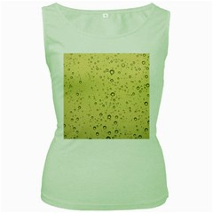 Yellow Water Droplets Women s Tank Top (Green)