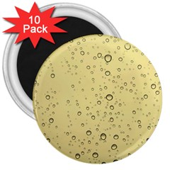 Yellow Water Droplets 3  Button Magnet (10 pack)
