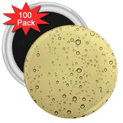 Yellow Water Droplets 3  Button Magnet (100 pack)