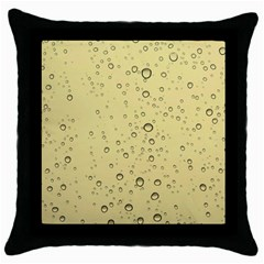 Yellow Water Droplets Black Throw Pillow Case