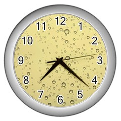 Yellow Water Droplets Wall Clock (Silver)