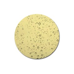 Yellow Water Droplets Magnet 3  (Round)