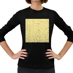 Yellow Water Droplets Women s Long Sleeve T-shirt (Dark Colored)