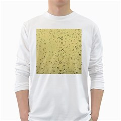 Yellow Water Droplets Men s Long Sleeve T-shirt (White)