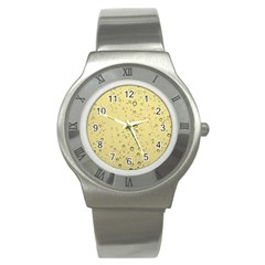 Yellow Water Droplets Stainless Steel Watch (Slim)