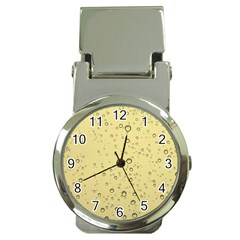 Yellow Water Droplets Money Clip with Watch