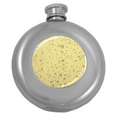 Yellow Water Droplets Hip Flask (Round)