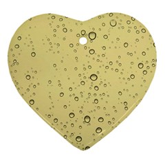 Yellow Water Droplets Heart Ornament (Two Sides)
