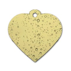 Yellow Water Droplets Dog Tag Heart (One Sided)