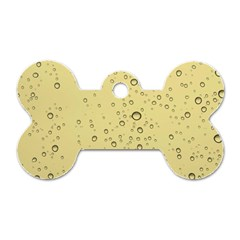 Yellow Water Droplets Dog Tag Bone (Two Sided)