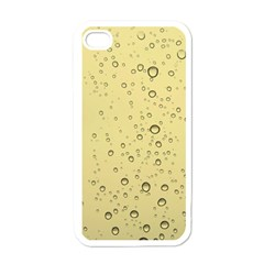 Yellow Water Droplets Apple iPhone 4 Case (White)