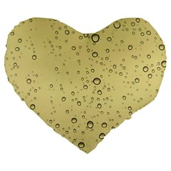 Yellow Water Droplets 19  Premium Heart Shape Cushion