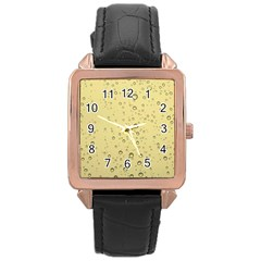 Yellow Water Droplets Rose Gold Leather Watch