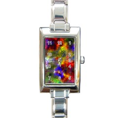 Deep Watercolors Rectangular Italian Charm Watch