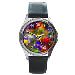 Deep Watercolors Round Leather Watch (silver Rim)
