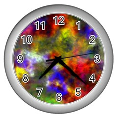 Deep Watercolors Wall Clock (Silver)