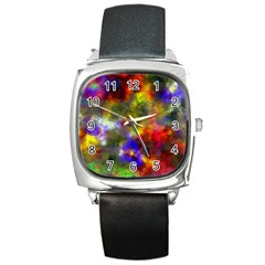 Deep Watercolors Square Leather Watch