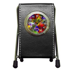 Deep Watercolors Stationery Holder Clock