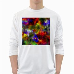 Deep Watercolors Men s Long Sleeve T-shirt (White)