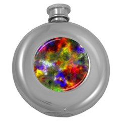 Deep Watercolors Hip Flask (Round)