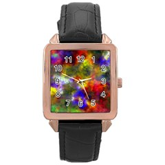 Deep Watercolors Rose Gold Leather Watch