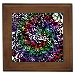 Urock Musicians Twisted Rainbow Notes  Framed Ceramic Tile