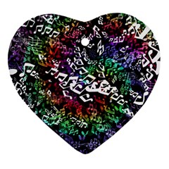 Urock Musicians Twisted Rainbow Notes  Heart Ornament