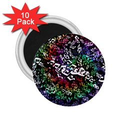 Urock Musicians Twisted Rainbow Notes  2 25  Button Magnet (10 Pack)