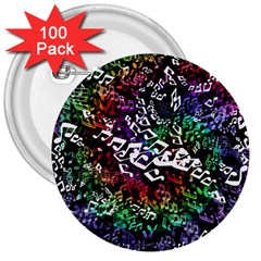 Urock Musicians Twisted Rainbow Notes  3  Button (100 pack)