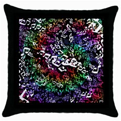 Urock Musicians Twisted Rainbow Notes  Black Throw Pillow Case