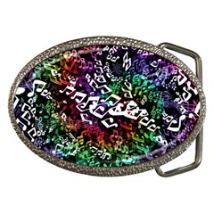 Urock Musicians Twisted Rainbow Notes  Belt Buckle (Oval)